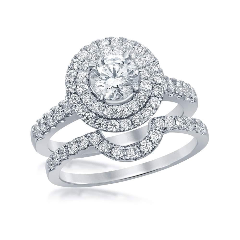 14K White Gold Ring Double Halo 1.69ctw Diamond