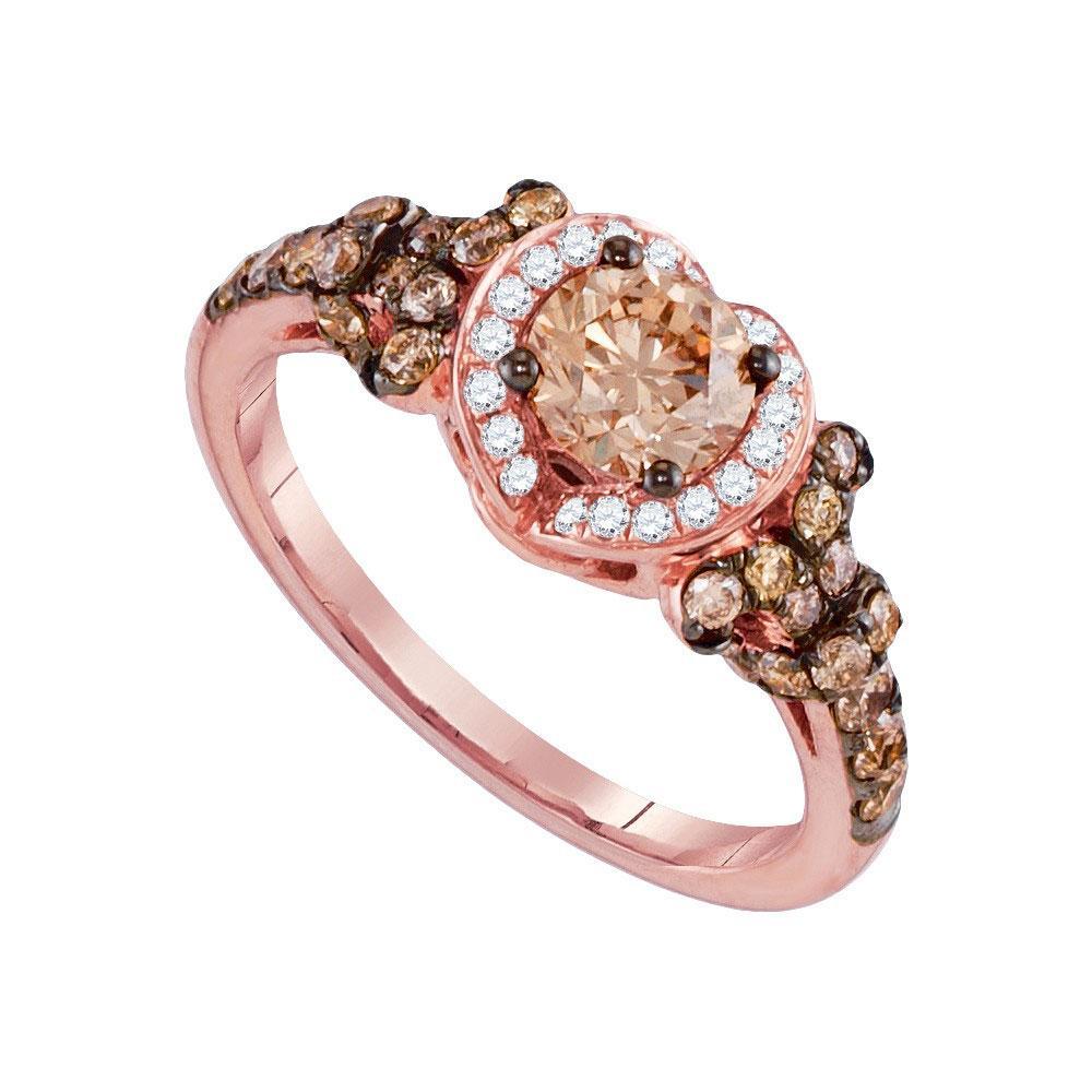 14K Rose Gold Ring 1.38ctw Brown Diamond