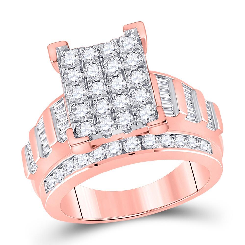 10K Rose Gold Ring Circle Cluster 2ctw Diamond