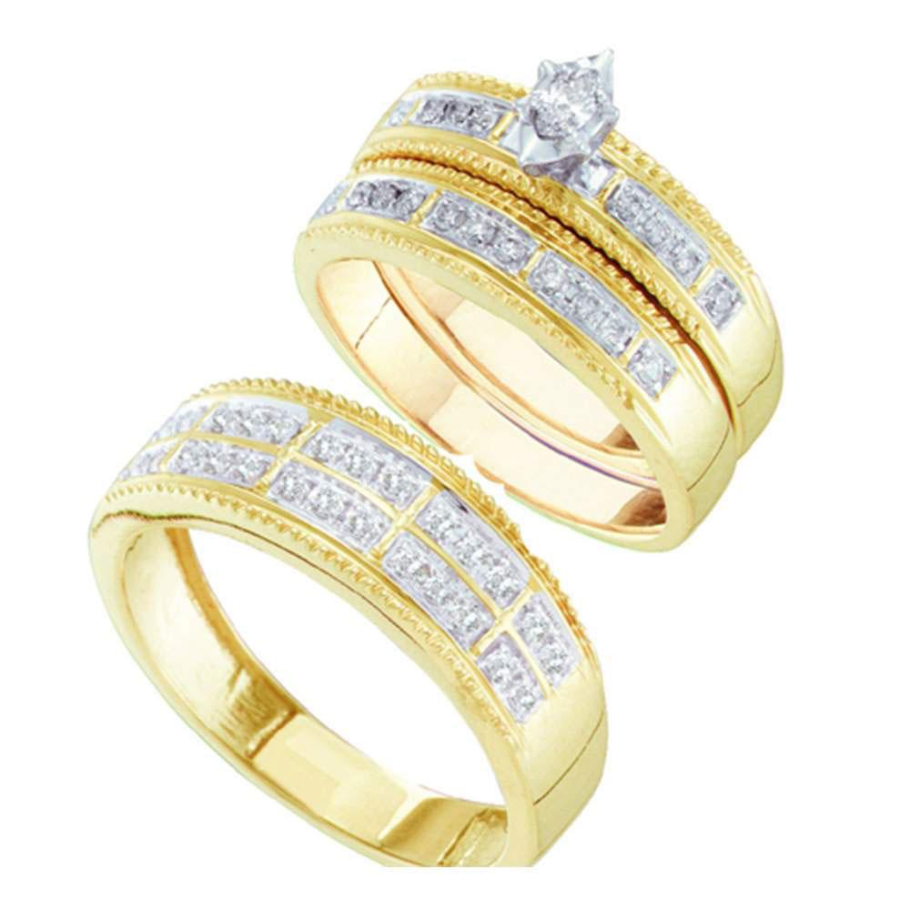 10K Yellow Gold 3-Ring Set 0.49ctw Diamond