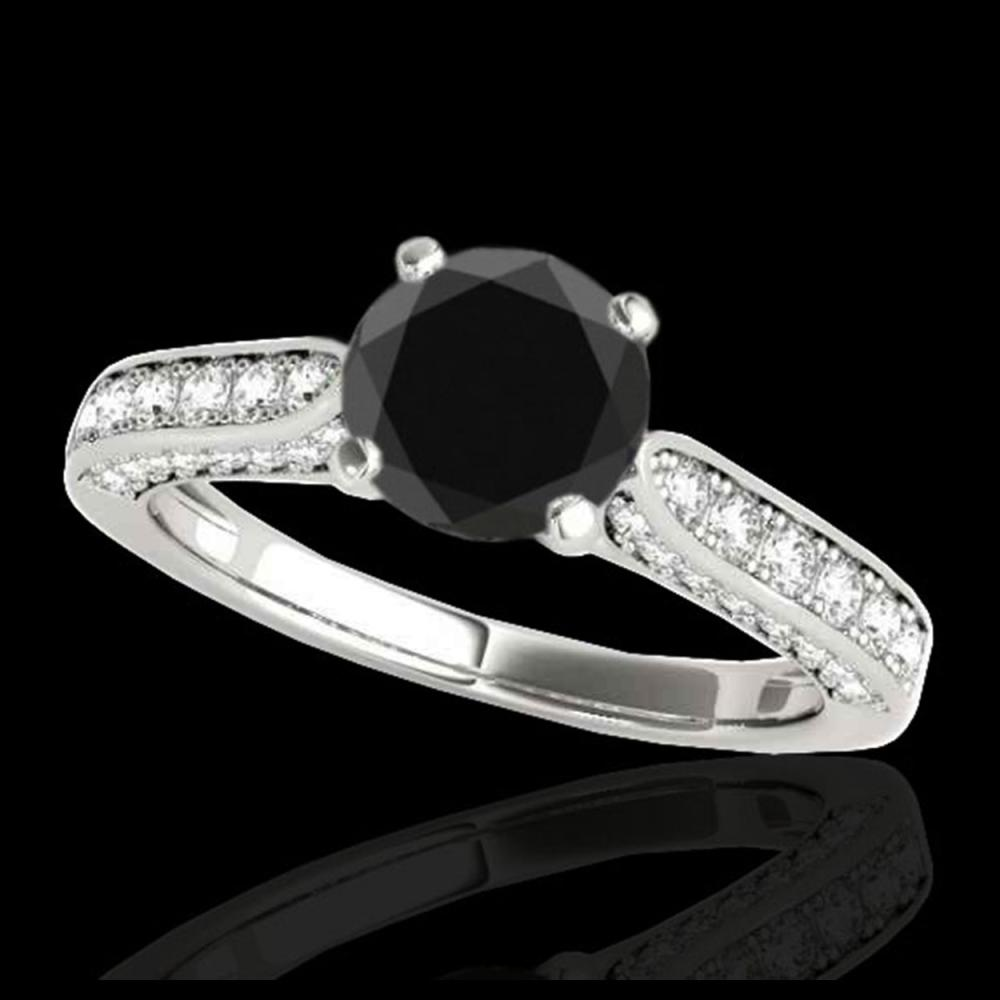 1.60 ctw Black Diamond Solitaire Ring 10K White Gold