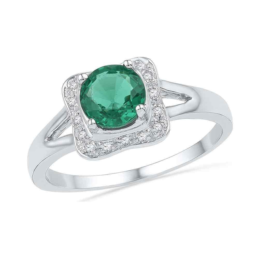 10K White Gold Ring 0.88ctw Lab Emerald, Diamond,