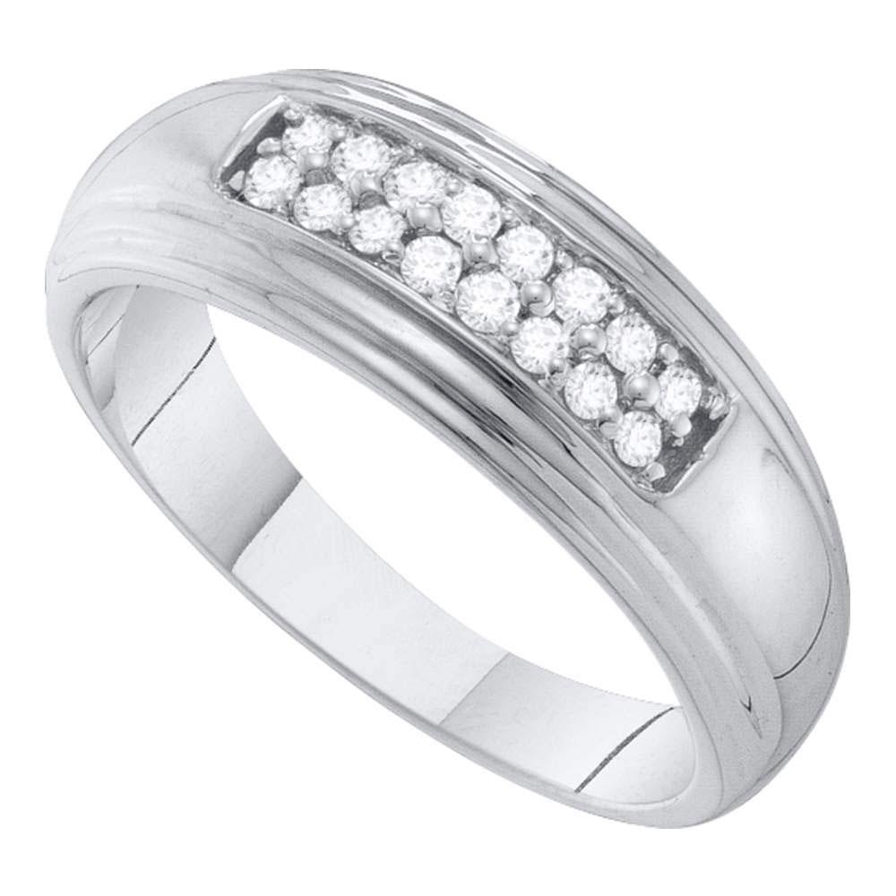 10K White Gold Mens Ring 2-Row 0.25ctw Diamond