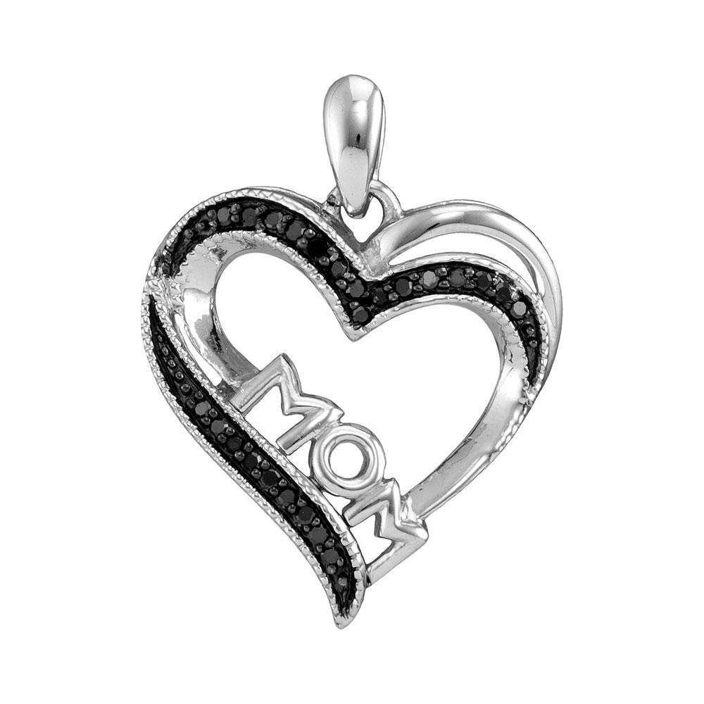 Sterling Silver Pendant Mom Heart 0.1ctw Colored Black Diamond