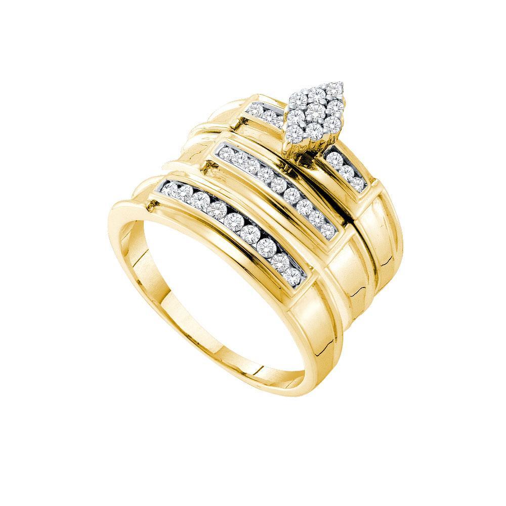 14K Yellow Gold 3-Ring Set 0.51ctw Diamond