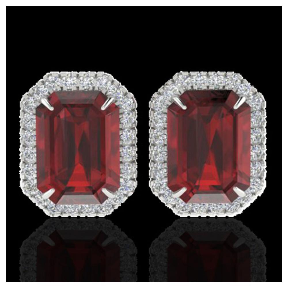 12 ctw Garnet And Diamond Earrings 18K White Gold