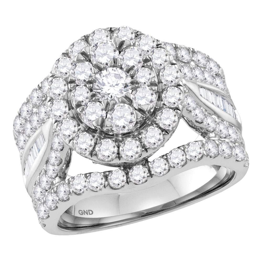 14K White Gold Ring Flower 3.46ctw Diamond