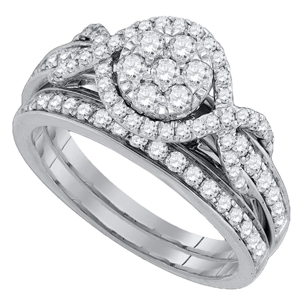 14K White Gold Ring Cluster 1.01ctw Diamond