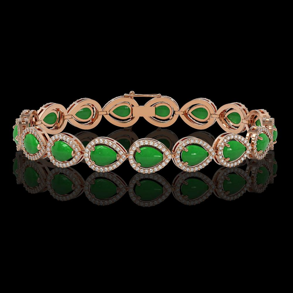 13.19 ctw Jade & Diamond Halo Bracelet 10K Rose Gold