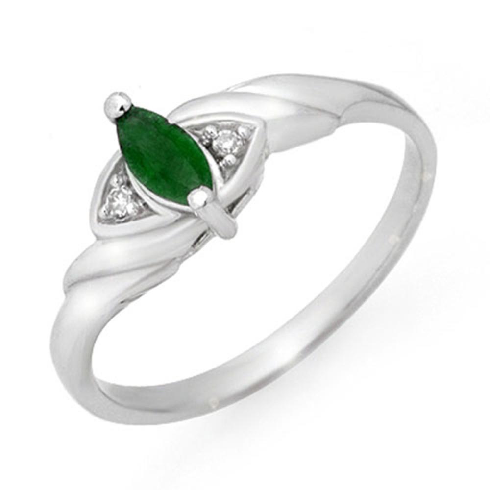 0.26 ctw Emerald & Diamond Ring 14K White Gold