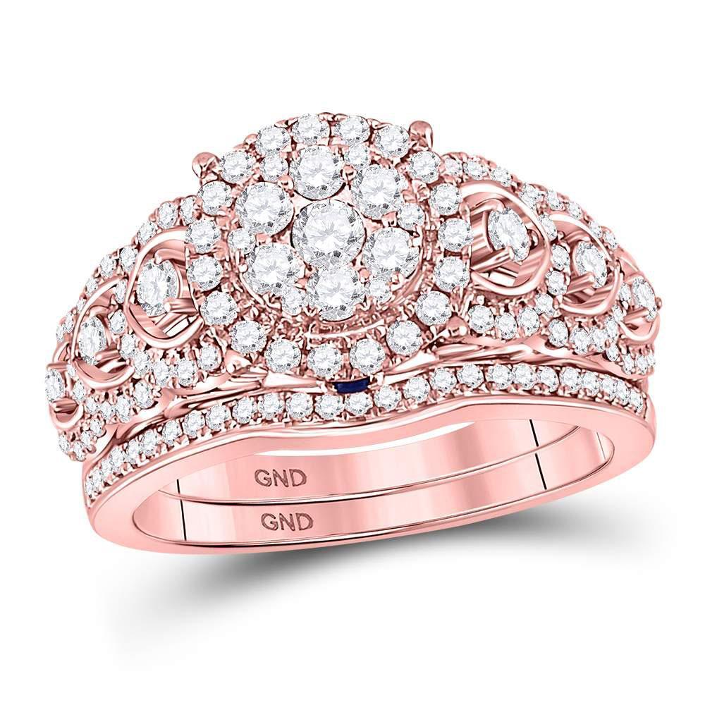 14K Rose Gold Ring 1.05ctw Diamond, Natural Blue Sapphire,