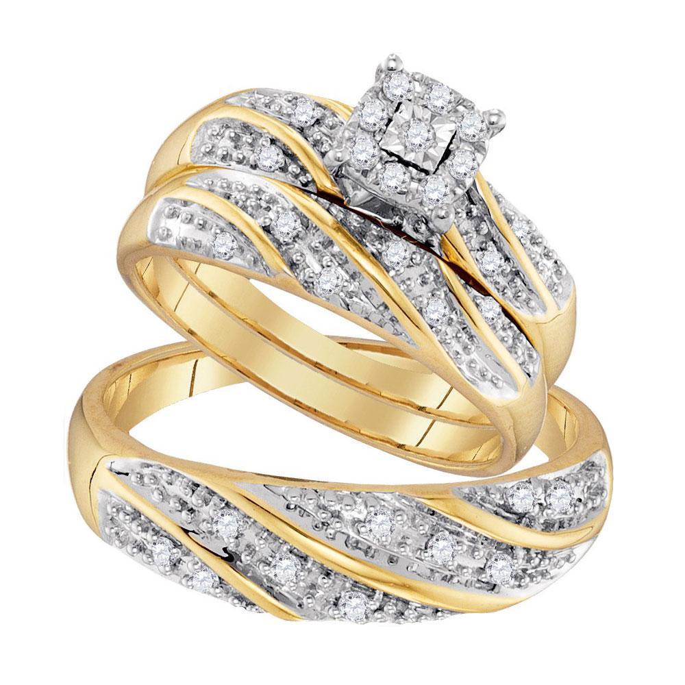 10K Yellow Gold 3-Ring Set 0.31ctw Diamond