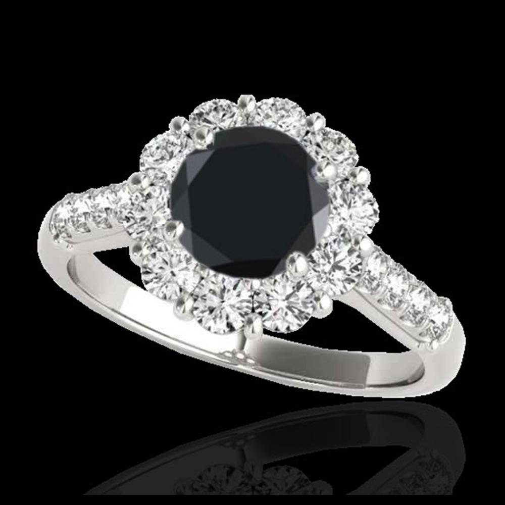 2.75 ctw Black Diamond Solitaire Halo Ring 10K White Gold