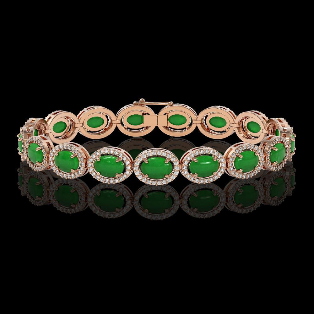 21.78 ctw Jade & Diamond Halo Bracelet 10K Rose Gold