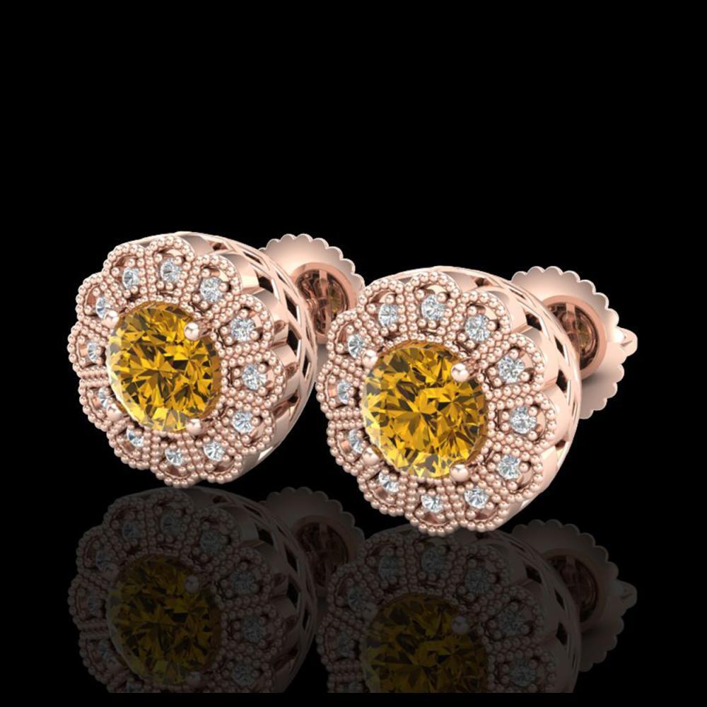 1.32 ctw Intense Fancy Yellow Diamond Art Deco Earrings 18K Rose Gold