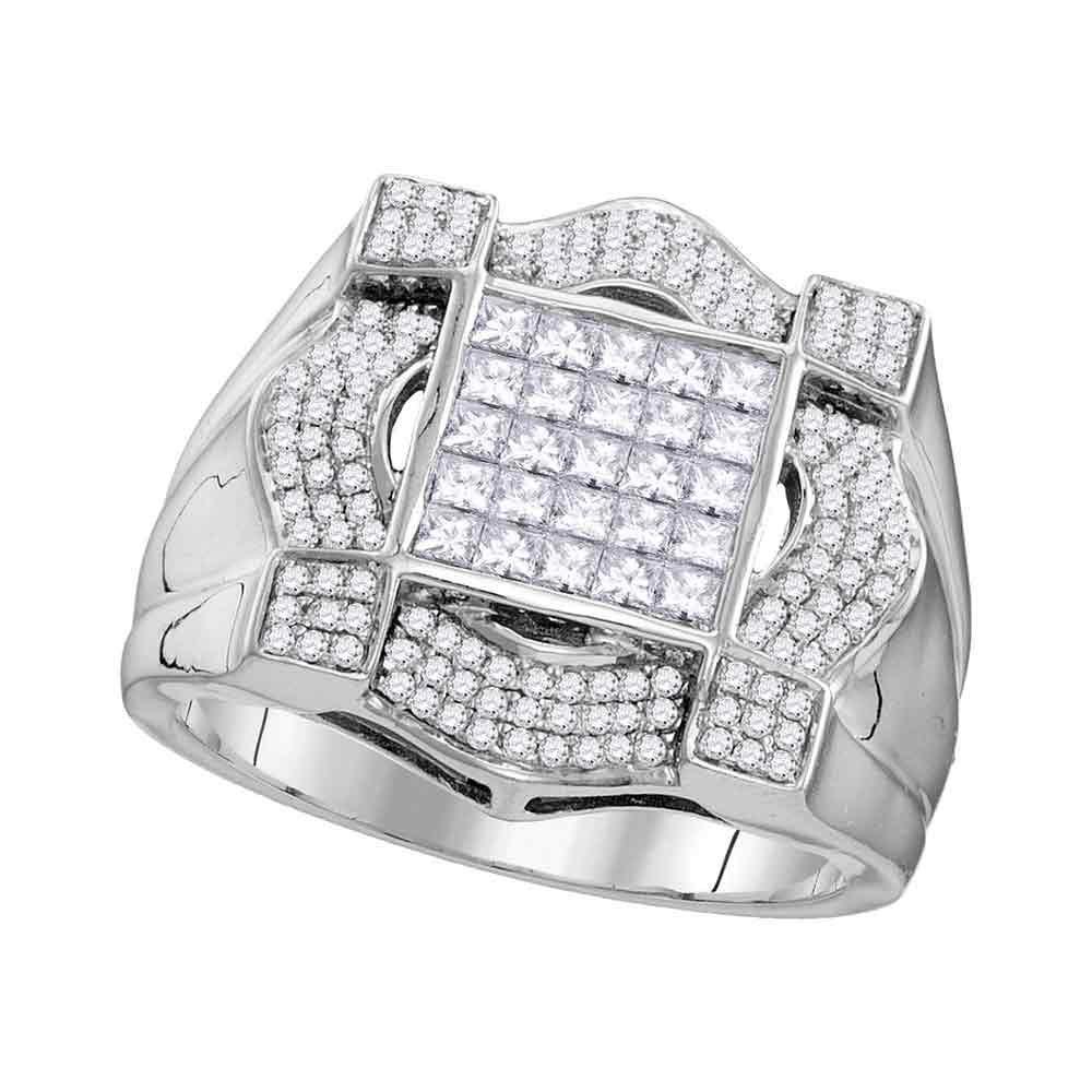 10K White Gold Mens Ring 1.36ctw Diamond