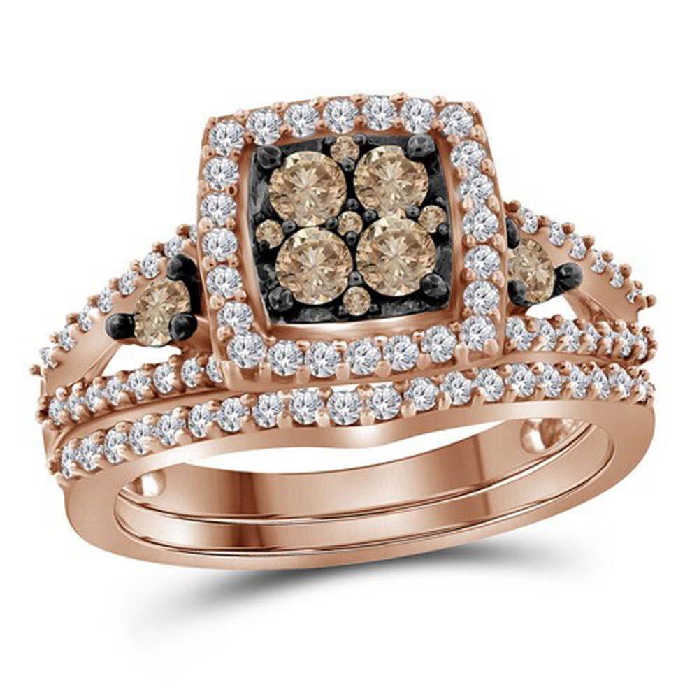 10K Rose Gold Ring 1ctw Brown Diamond, Diamond,