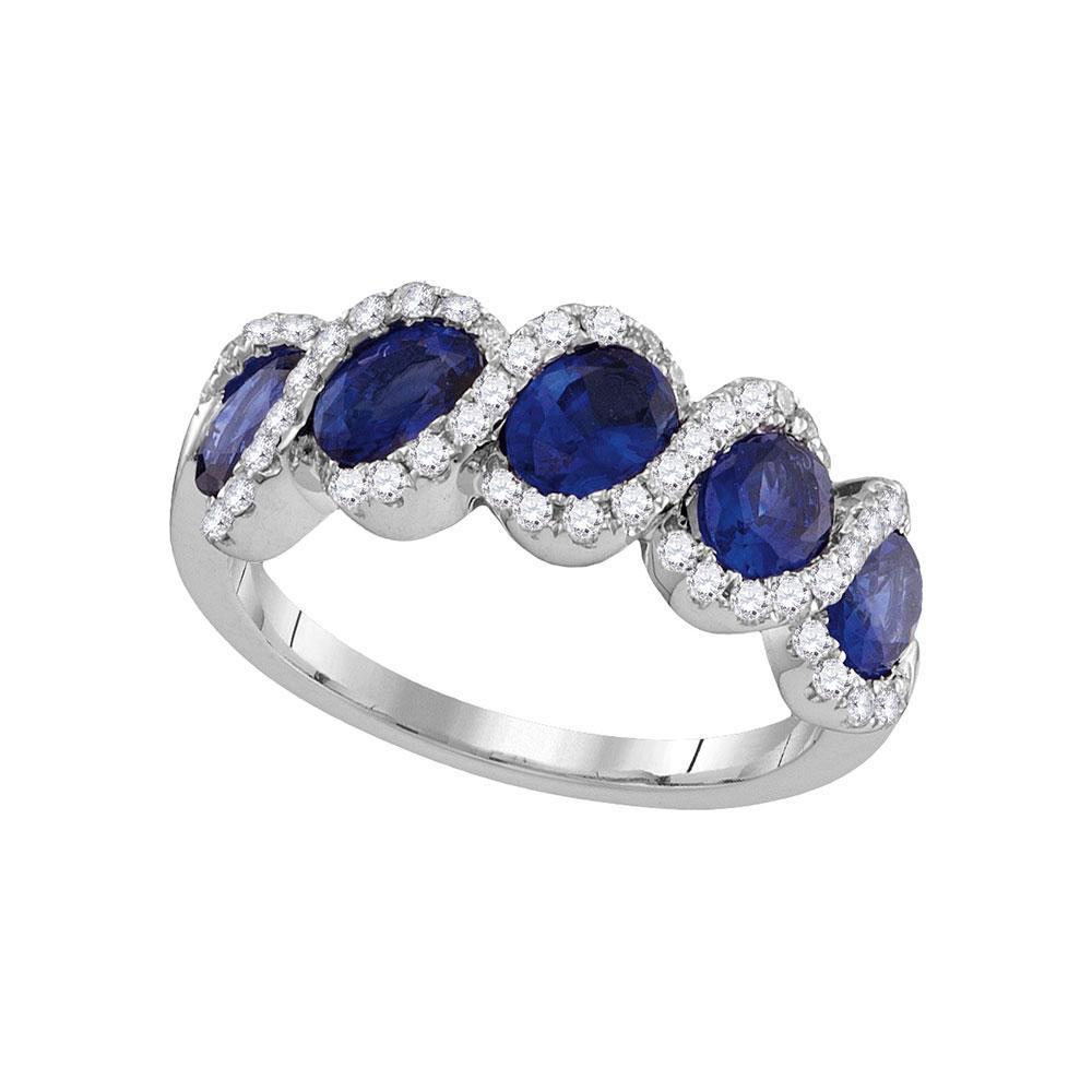 18K White Gold Ring 2.47ctw Natural Blue Sapphire, Diamond,