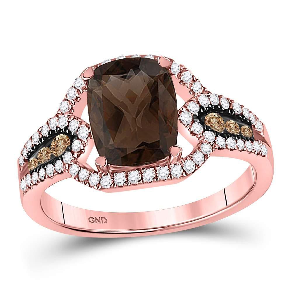 10K Rose Gold Ring 2.33ctw Natural Smoky Quartz, Brown Diamond, Diamond