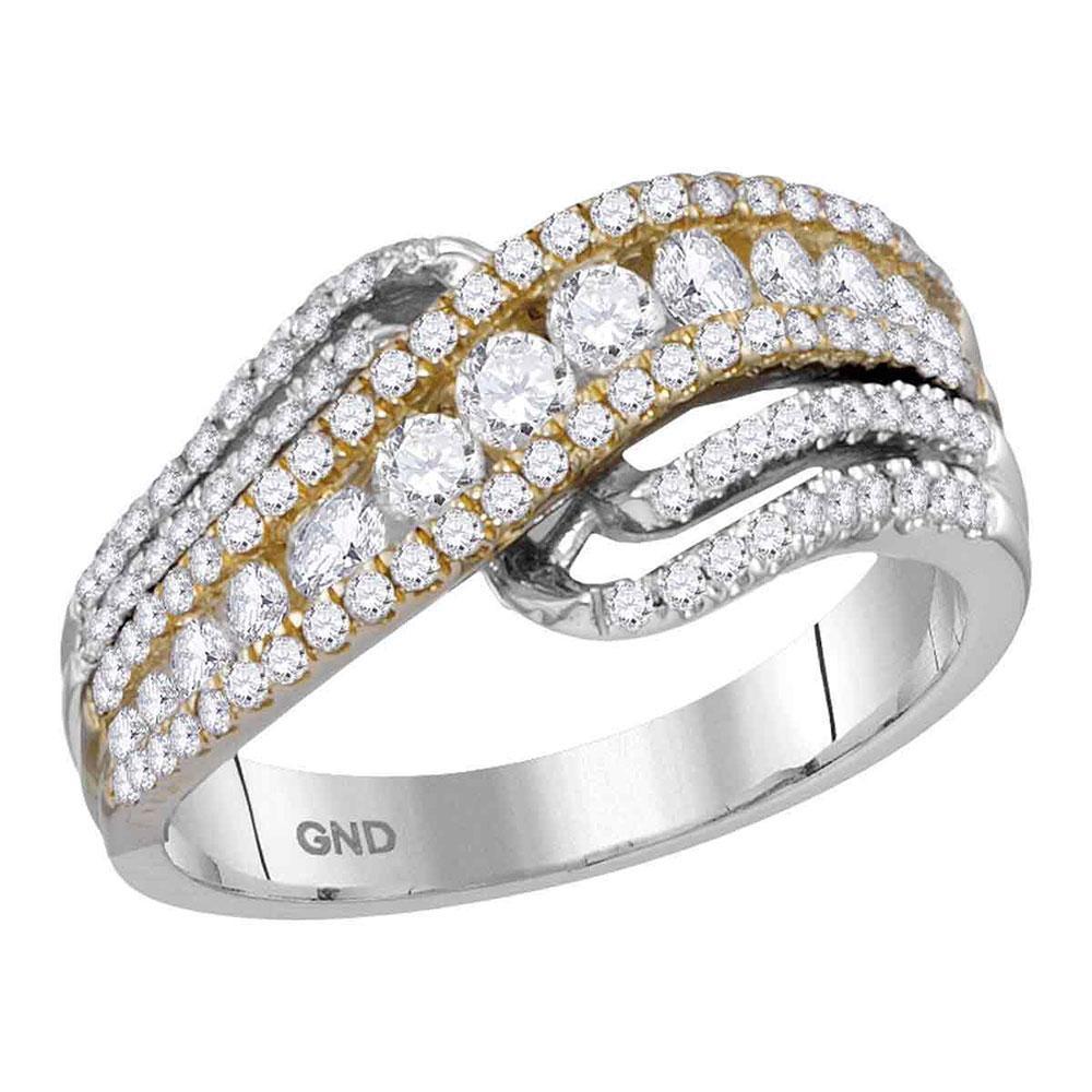 14K 2-tone Gold Ring Crossover 0.98ctw Diamond