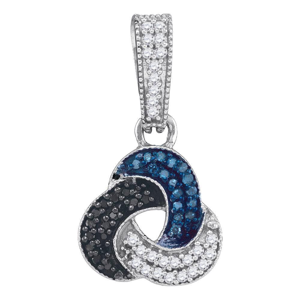 10K White Gold Pendant Trinity Cluster 0.3ctw Colored Blue Diamond, Colored Black Diamond, Diamond