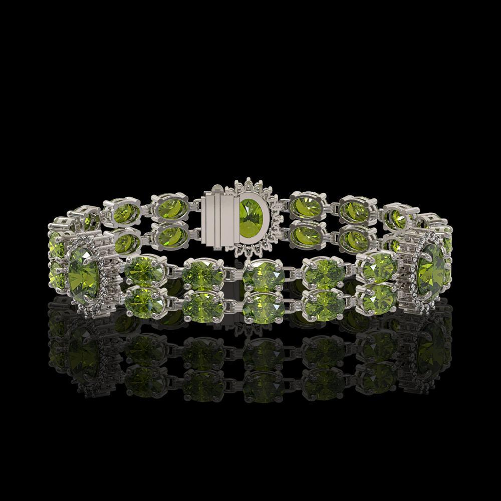17.79 ctw Tourmaline & Diamond Bracelet 14K White Gold