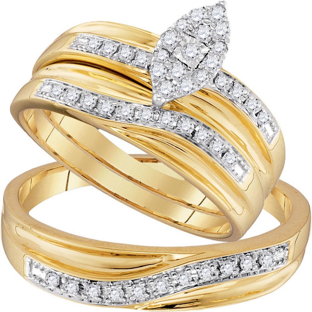 10K Yellow Gold 3-Ring Set 0.34ctw Diamond