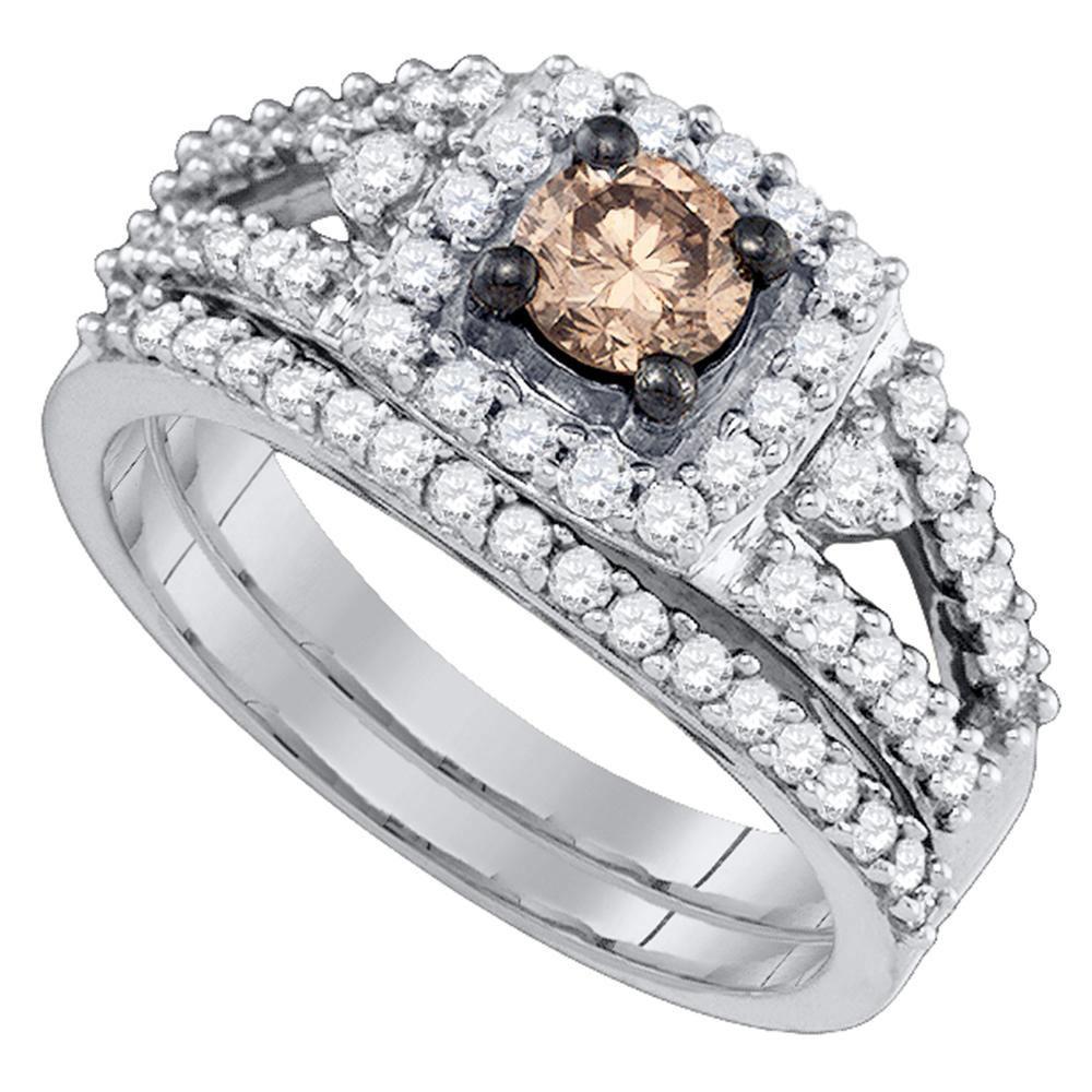 14K White Gold Ring 1.04ctw Brown Diamond, Diamond,