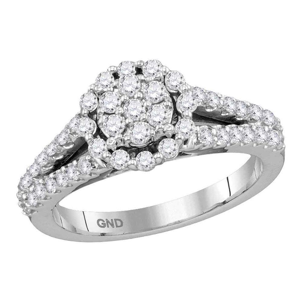 14K White Gold Ring Split-Shank 0.75ctw Diamond