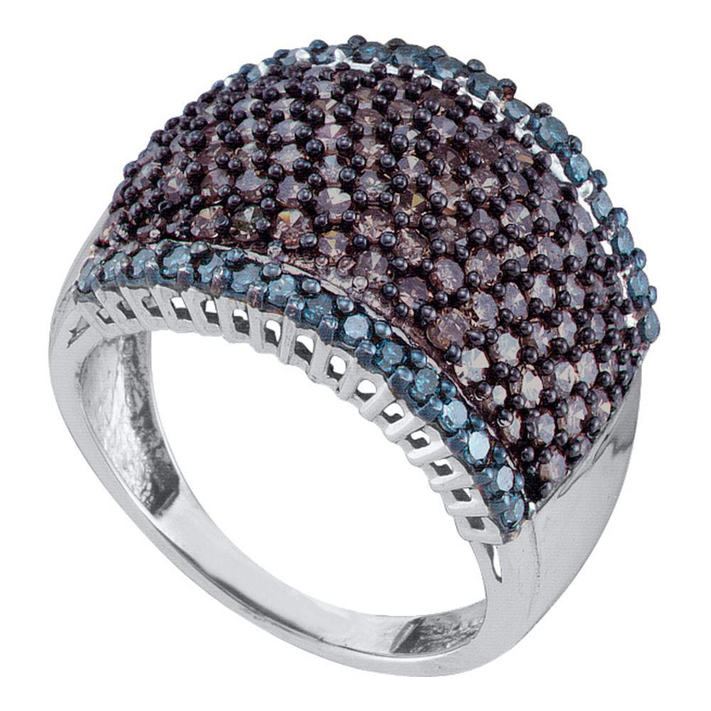 10K White Gold Ring 1.8ctw Colored Blue Diamond, Brown Diamond,