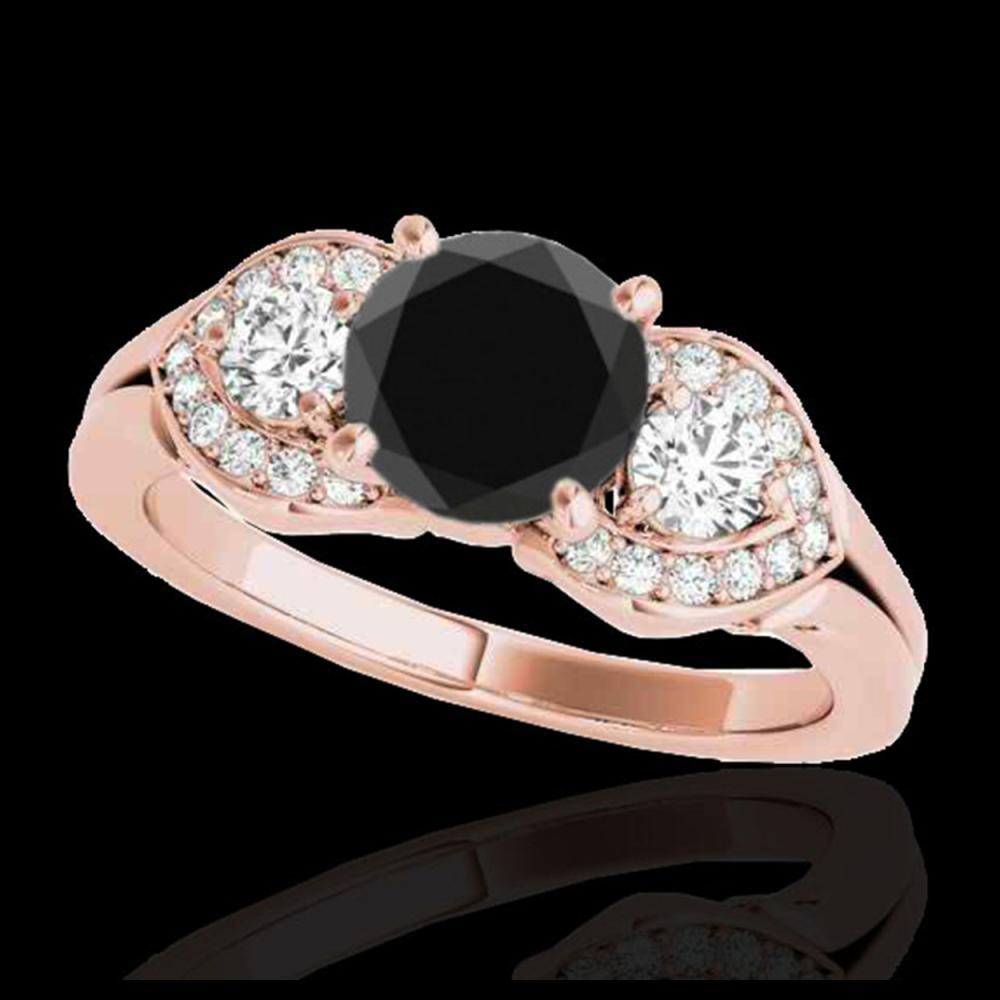 1.45 ctw Black Diamond 3 Stone Ring 10K Rose Gold