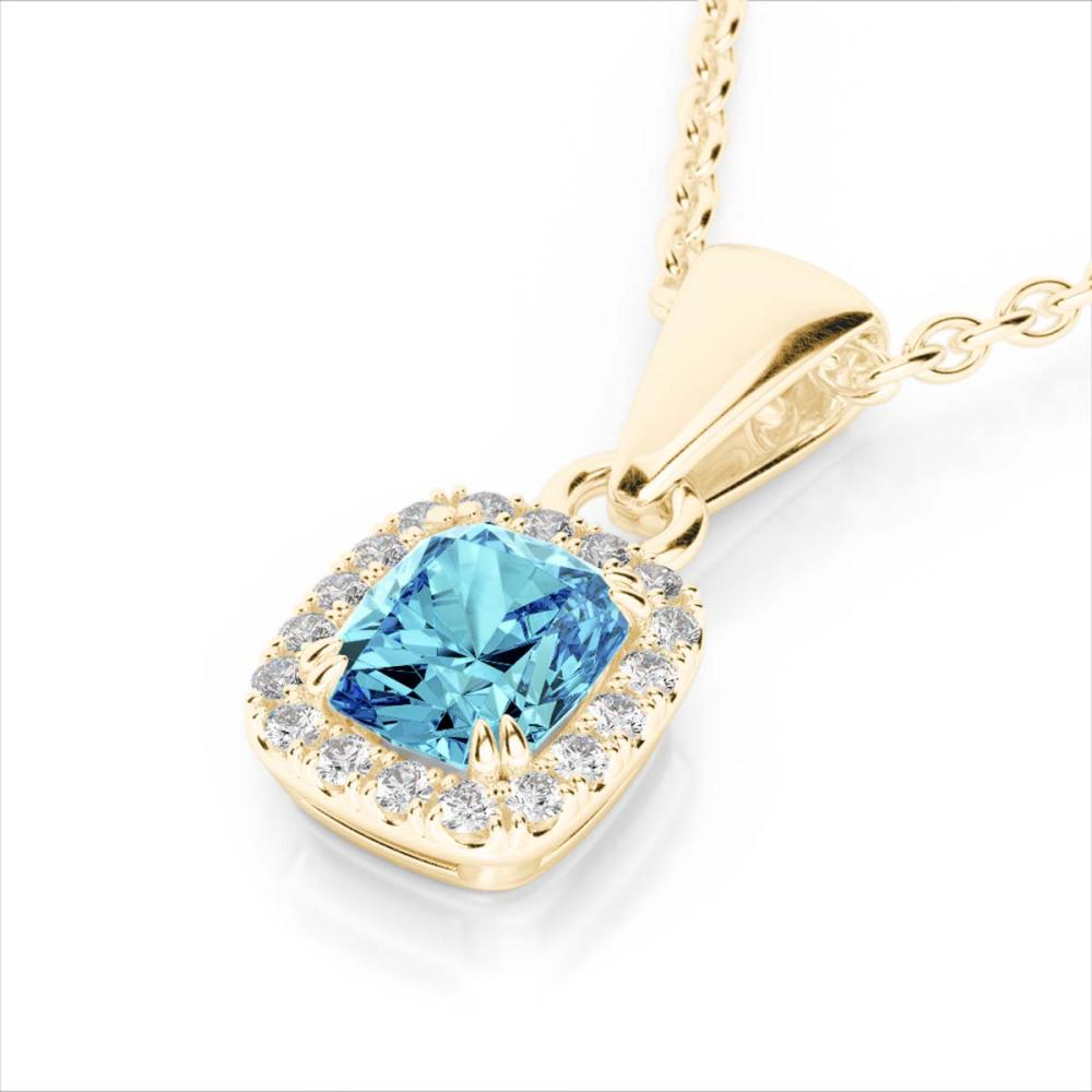 1.25 ctw Sky Blue Topaz & VS/SI Diamond Necklace 10K Yellow Gold