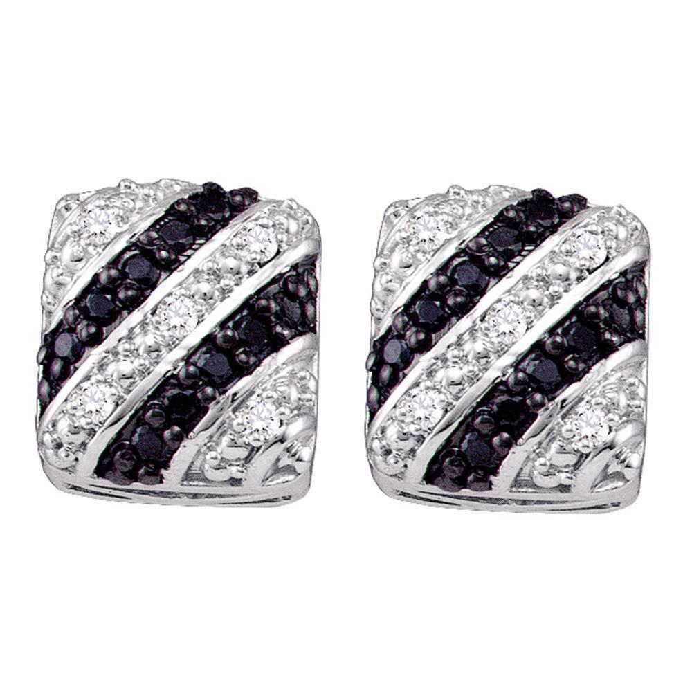 10K White Gold Earrings Striped 0.29ctw Colored Black Diamond, Diamond,