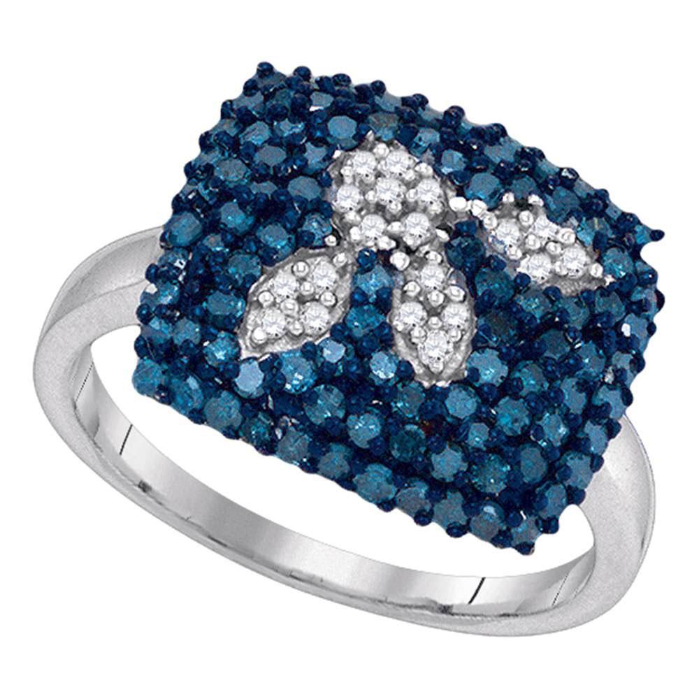 10K White Gold Ring Square Cluster 1ctw Colored Blue Diamond, Diamond,