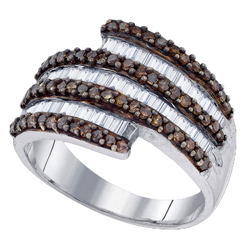 Sterling Silver Ring Stripe 1.06ctw Brown Diamond, Diamond,