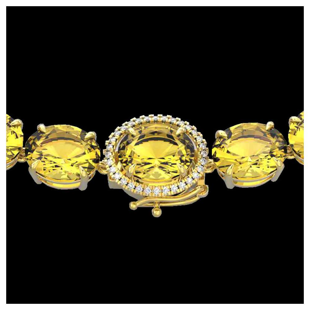 175 ctw Citrine & Diamond Halo Necklace 14K Yellow Gold