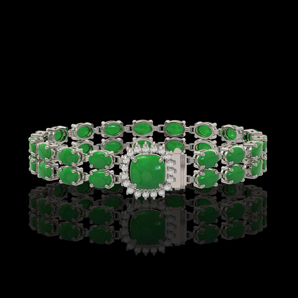 12.93 ctw Jade & Diamond Bracelet 14K White Gold