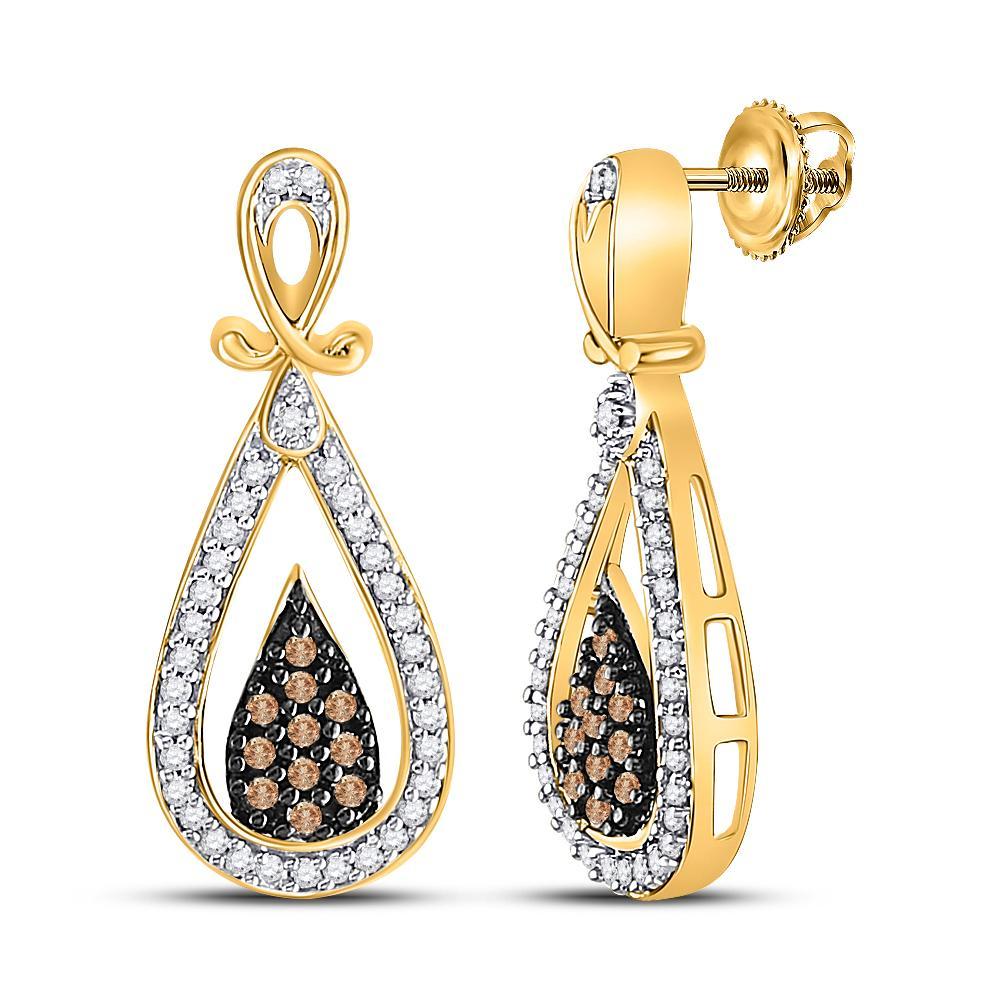10K Yellow Gold Earrings Teardrop Dangle 0.32ctw Brown Diamond, Diamond,