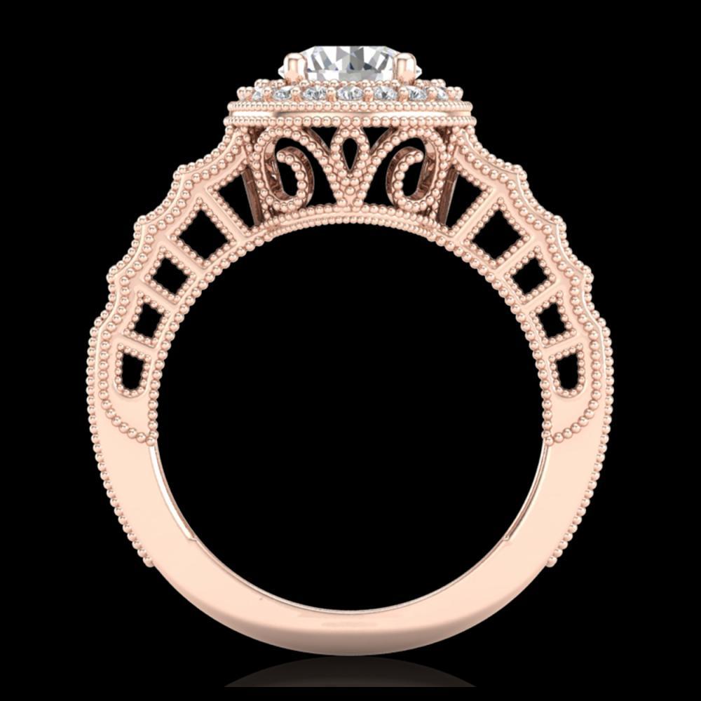 1.53 ctw Diamond Solitaire Art Deco Ring 18K Rose Gold