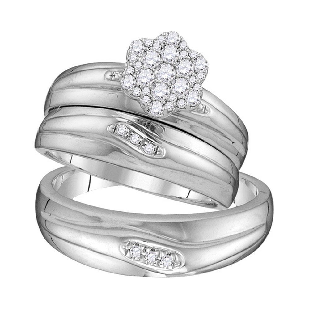 10K White Gold 3-Ring Set 0.39ctw Diamond