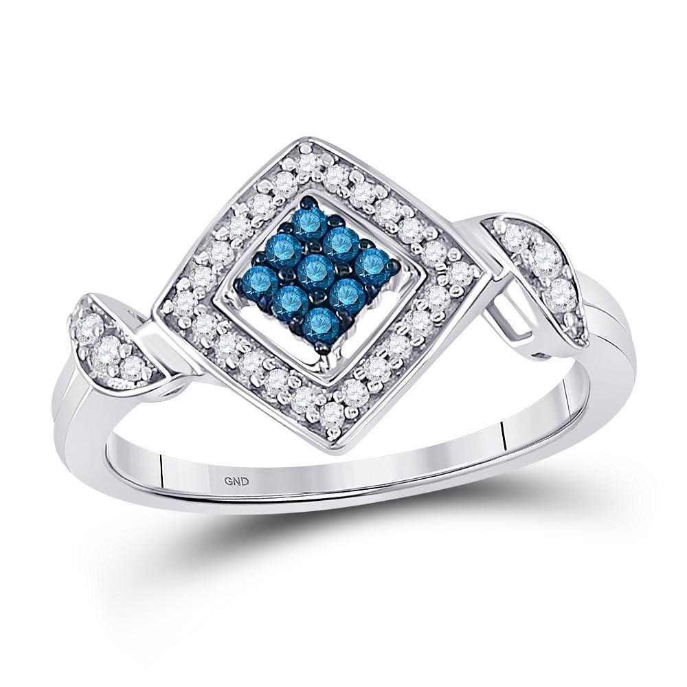 10K White Gold Ring Diagonal Square 0.25ctw Colored Blue Diamond, Diamond,