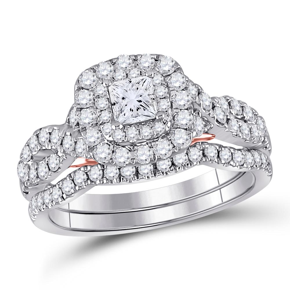 14K 2-tone Gold Ring 1.26ctw Diamond, Natural Blue Sapphire,