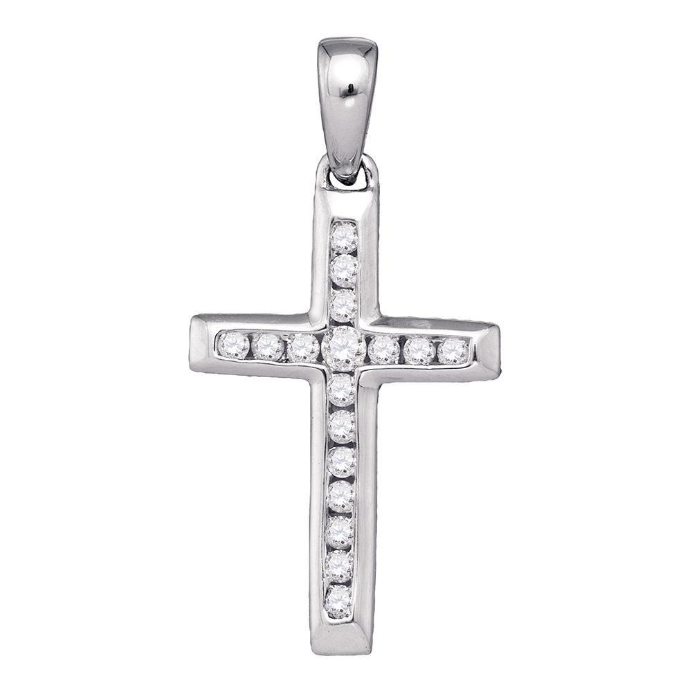 10K White Gold Pendant Small Cross 0.12ctw Diamond