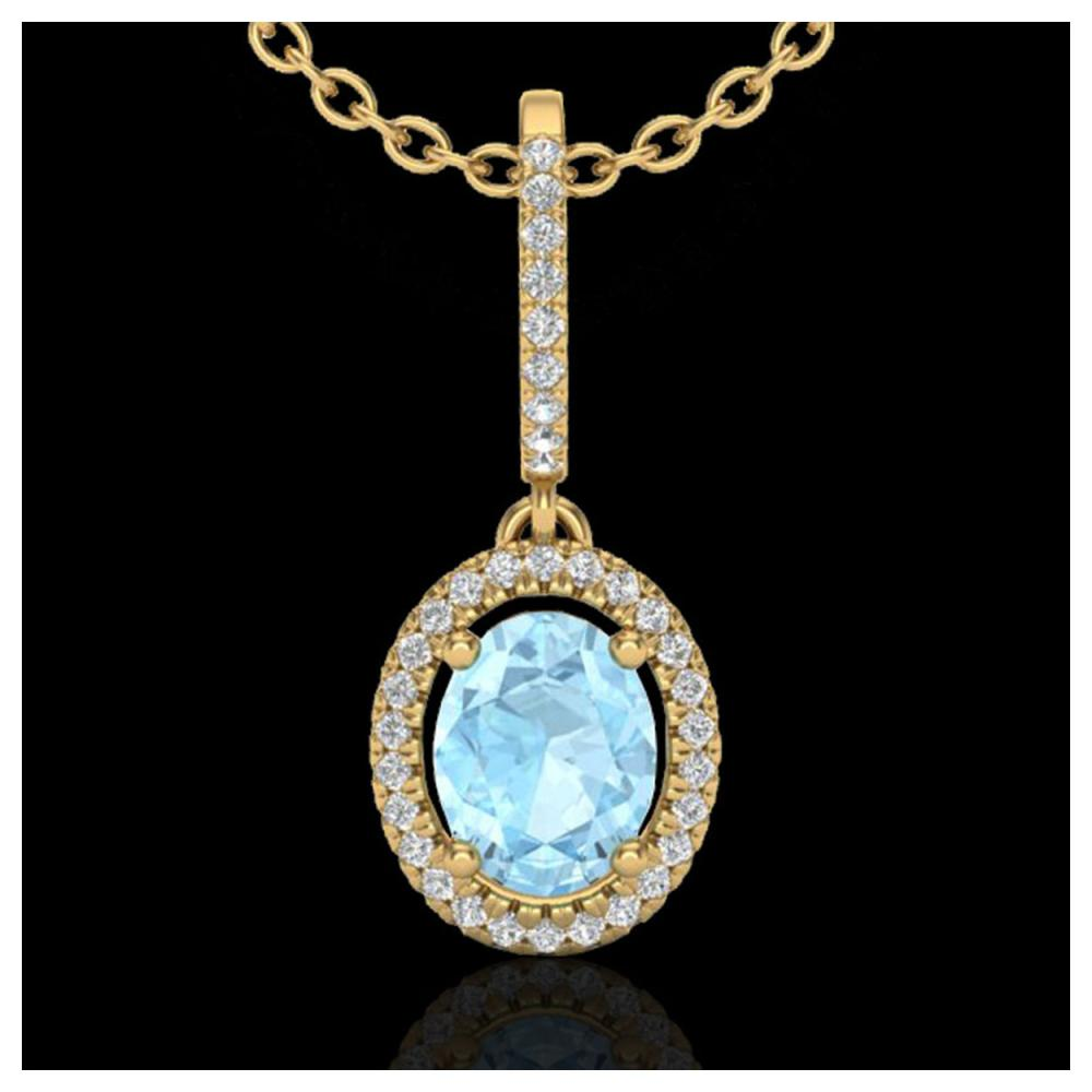 1.75 ctw Aquamarine & Diamond Necklace Halo 18K Yellow Gold