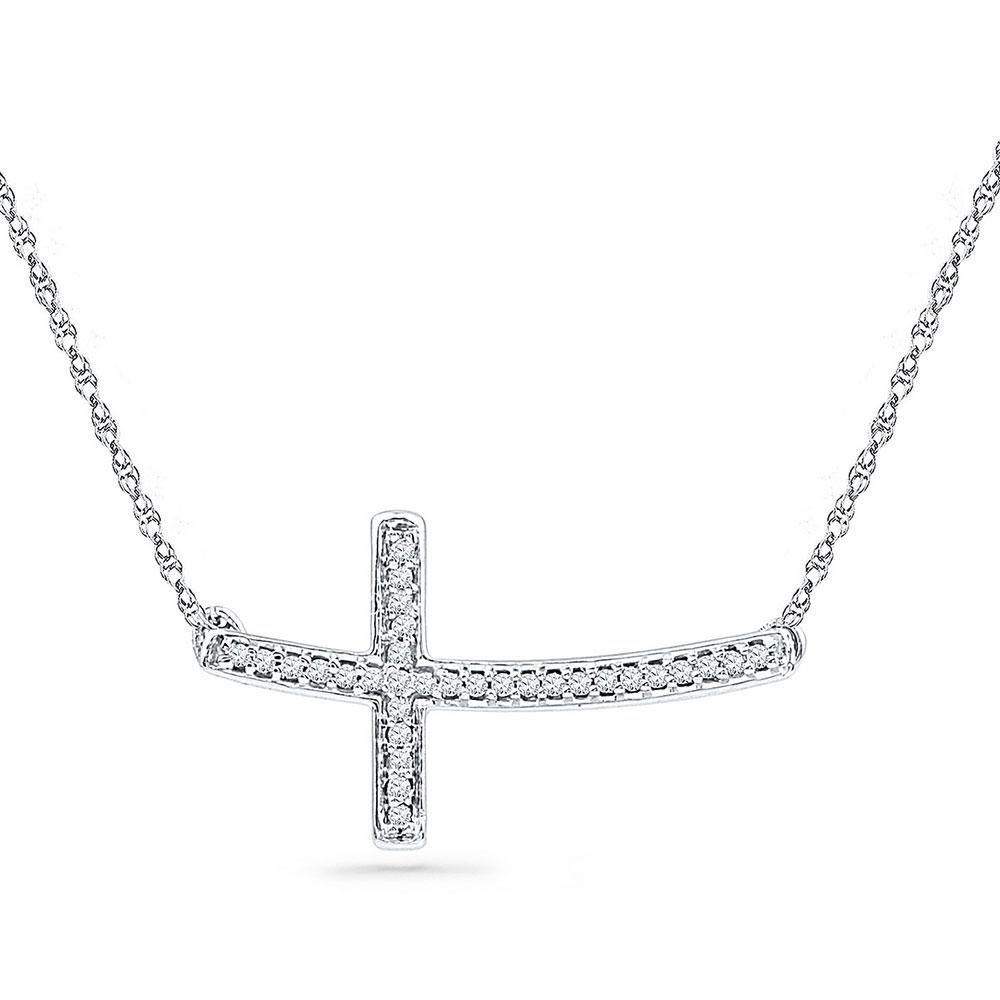 Sterling Silver Necklace Horizontal Cross 0.1ctw Diamond