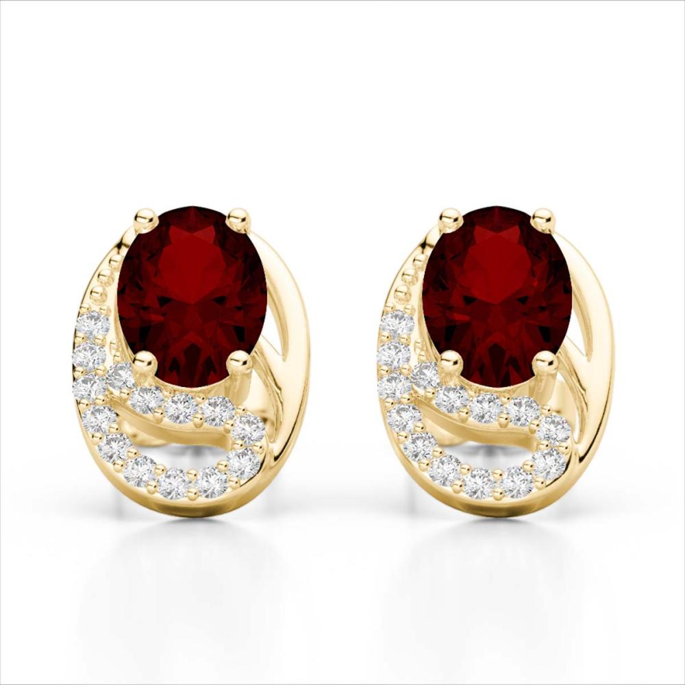 2.50 Garnet & VS/SI Diamond Stud Earrings 10K Yellow Gold