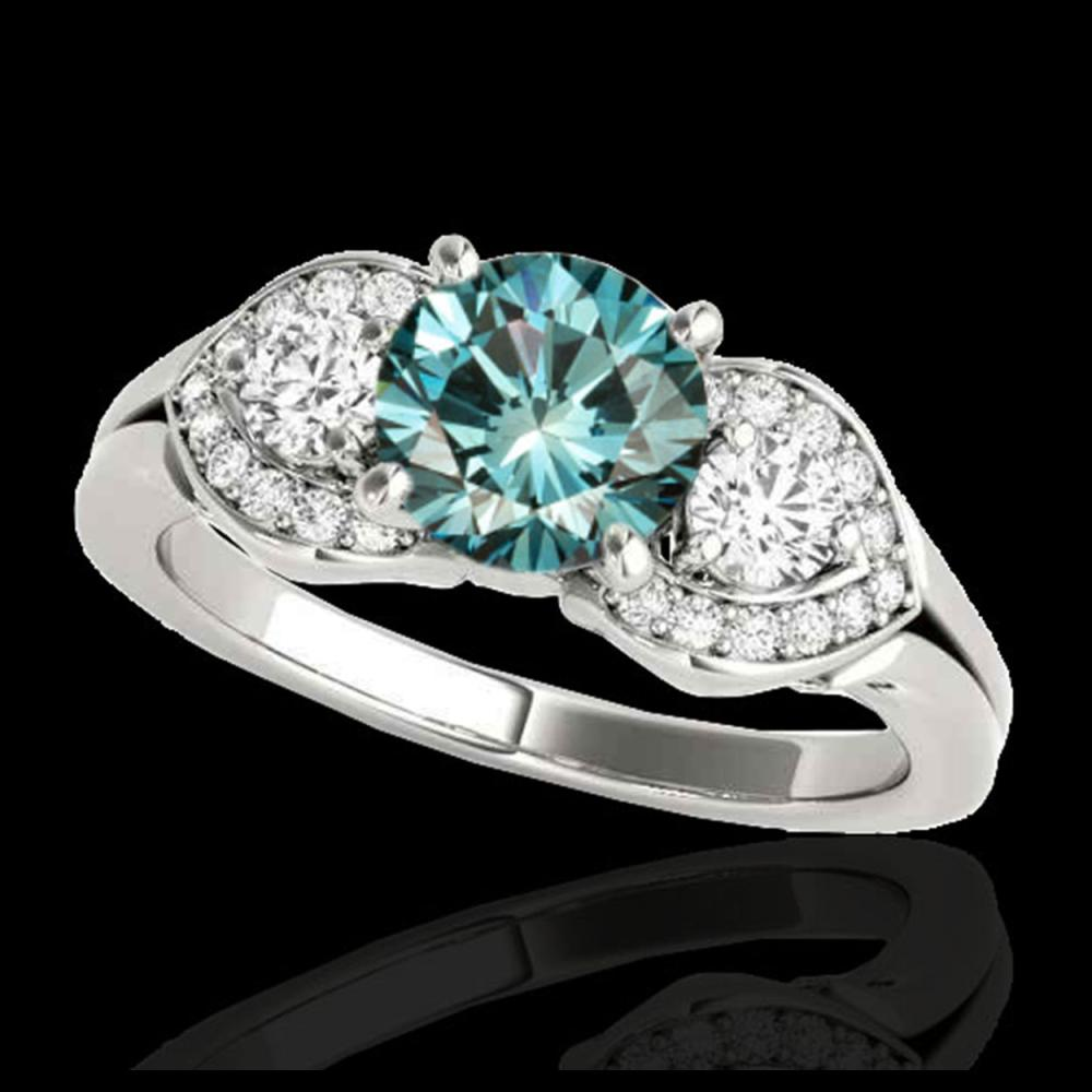 1.45 ctw SI Fancy Blue Diamond 3 Stone Ring 10K White Gold