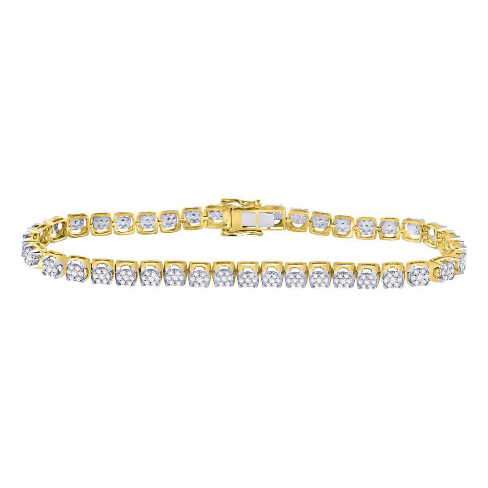 10K Yellow Gold Bracelet Cluster Tennis 3.36ctw Diamond