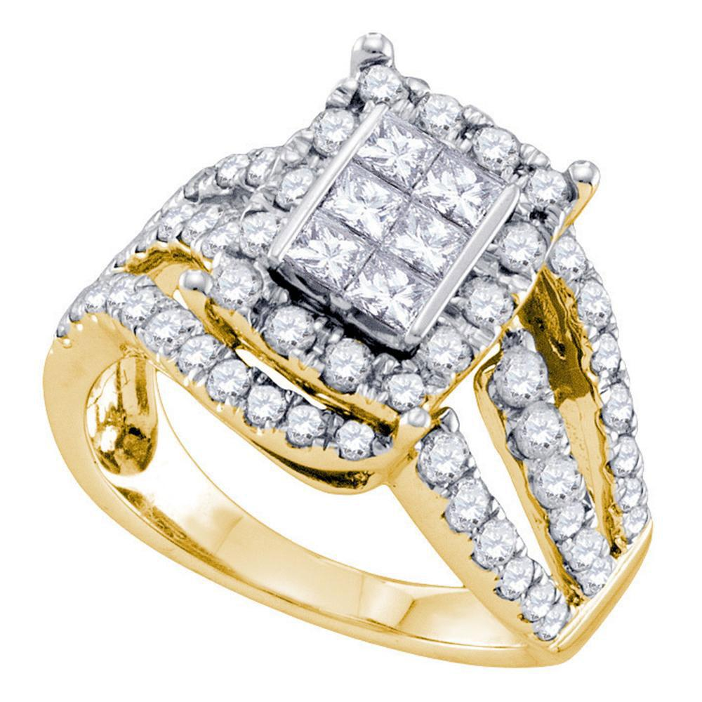 14K Yellow Gold Ring Cluster 1ctw Diamond