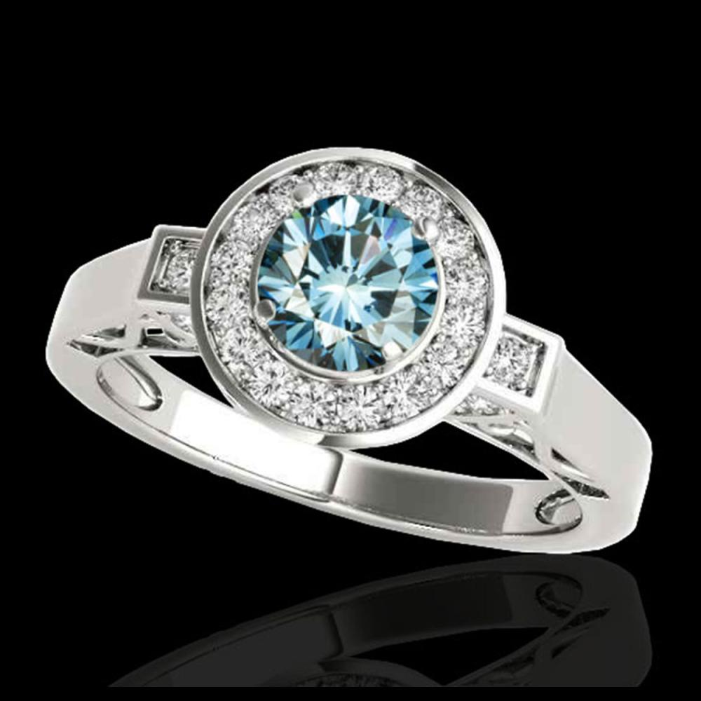 1.50 ctw SI Fancy Blue Diamond Solitaire Halo Ring 10K White Gold